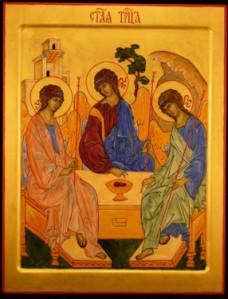 Rublev's icon of the Trinity depicts the three visitors to Abraham in Gen 18